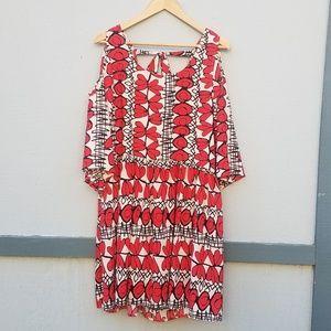 Bright Patterned Cold Shoulder Bell Sleeve Dress